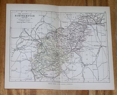 1882 Antique Map Of County Of Northampton Northamptonshire Daventry / England