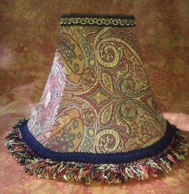 15X12 Oval Bugandy Multi Colored Paisley Victorian Style Lampshade