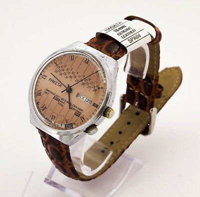 Raketa 2628.H calendar USSR men's mechanical wristwatch, brown dial 22 jewels