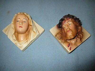 """Vintage Pr.JESUS Christ & MARY WALL PLAQUES Crown of Thorns Chalkware Plaster 3"""""""