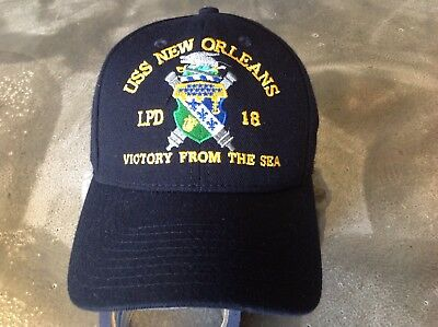 New US Navy Command Cap USS NEW ORLEANS LPD 18 Genuine Issue Hat BLUE Alligato