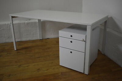 White Herman Miller Straight Office Desk & Matching 3 Drawer Underdesk Pedestal