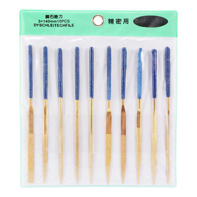 10x 140mm Diamond Needle File Set for Guitar Frets Soft Metal Wood Plastic BI956