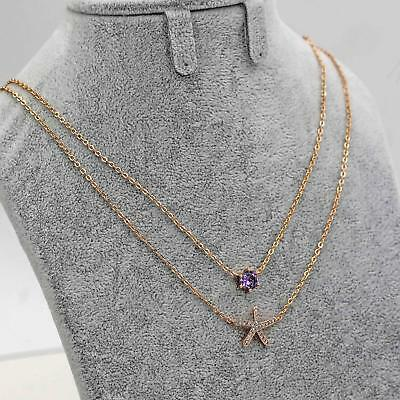 18K Yellow Gold Filled 2-Layer Necklace Amethyst Starfish Pendant Topaz Party