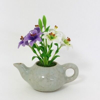 Dollhouse Miniature Clay Flower White Purple Lily in Celadon Pot Handcrafted