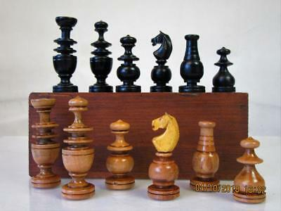 ANTIQUE CHESS  SET  REGENCE EARLY PATTERN K 69 mm  AND  BOX   NO BOARD