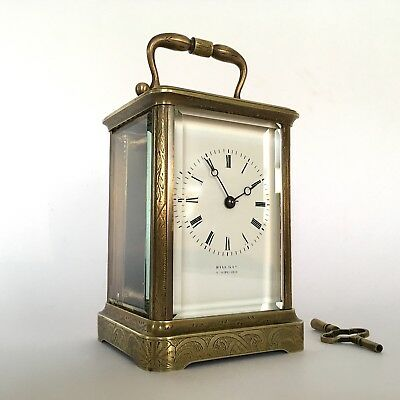 ANTIQUE 19th Century FRENCH Brass Carriage Clock HALL & Co Manchester C1885 XMAS