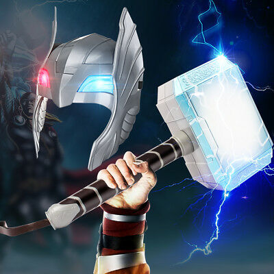 Halloween Cosplay Glowing Sounds Hammer LED Helmet For Thor Action Figures Kids