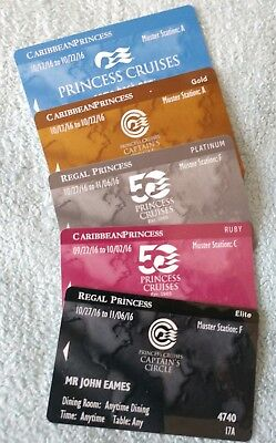 Princess Cruises Logo 5 Seapass Key Cards (Blue, Gold, Platinum, Ruby, Elite)