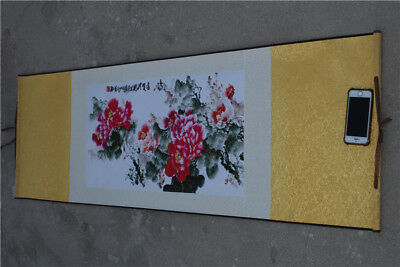 "56"" Art China Silk Picture Album Peony Flower Drawing Scroll Painting ""牡丹花"""