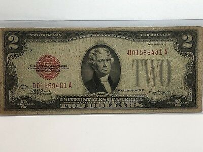 1928 D $2 Two Dollar Red Seal Bill US Paper Money In AB