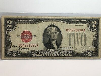 1928 F $2 Two Dollar Red Seal Bill US Paper Money In AG