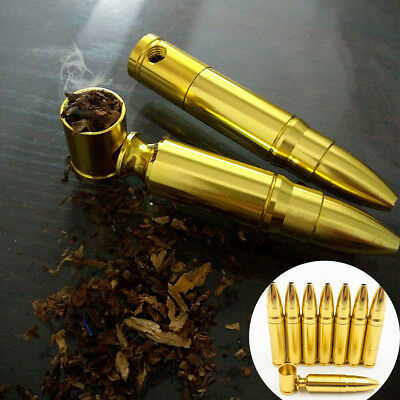 1PC Gold Aluminum Tobacco Pipe Pocket Smoke Pipes Chic Bullet Rocket Pattern NEW