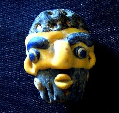 Antique Phoenician Handmade Mosaic Glass Bearded Yellow Face Pendant 405