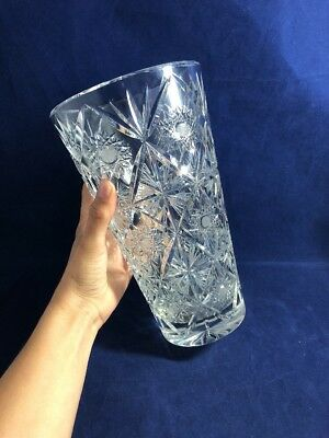 Vintage Lovely Heavy Cut Crystal Large Glass Flower Vase Star Design