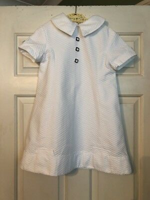 Vintage French 1960s Childs Girls Dress White with Button Detail