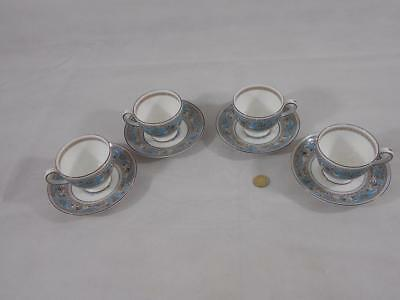Wedgwood Florentine Turquoise Pattern.Four Tea Cups & Saucers