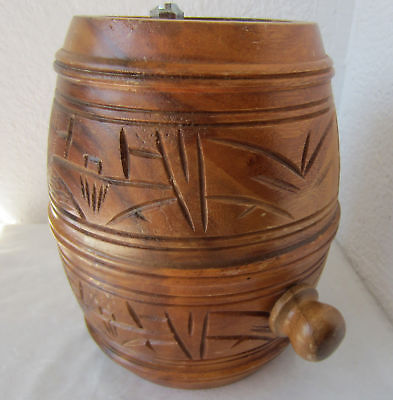 "8"" Antique VINTAGE primitive WOODEN BARREL CASK KEG FLASK CANTEEN, CARVING"