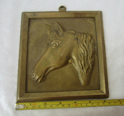 ANTIQUE Vintage bronze brass  embossed   horse head wall plaque