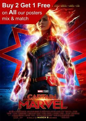 Captain Marvel 2019 Movie Poster A5 A4 A3 A2 A1