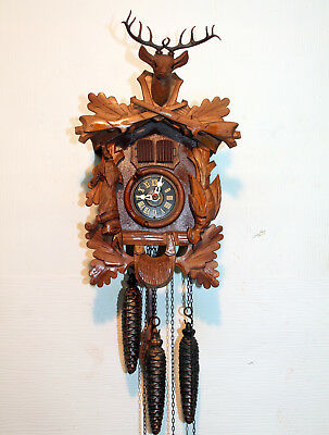 Old Cuckoo Clock Wall clock Black Forest CARILLON MUSIC BOX and 1 MELODIE