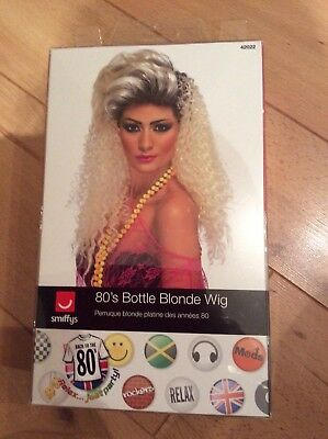 Adult 80s Bottle Blonde Curly Wig with Quiff 1980s Fancy Dress Accessories Wigs