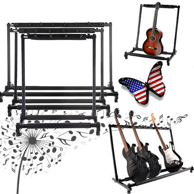 Rack Style Bass Folding Multiple Guitar Holder Stand For Friends Xmas Gifts US