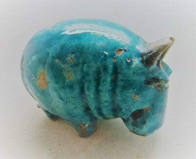 Scarce Ancient Egyptian Glazed Faience Hippopotamus Statuette