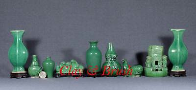 Chinese Literati Scholar's desk antique porcelain objects collection green