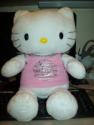 Build-A-Bear 17 Inch Plush Hello Kitty Very Nice With Sparkly Pink Top Nice!!!!