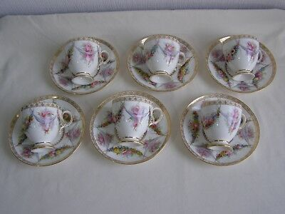 6 fine antique Copeland Spode cups and saucers hand painted in Sevres style