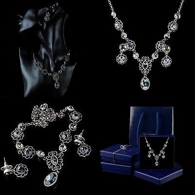 Jewellery Set Necklace Pendant Earrings Blue CZ Crystal Ancient Silver Plated