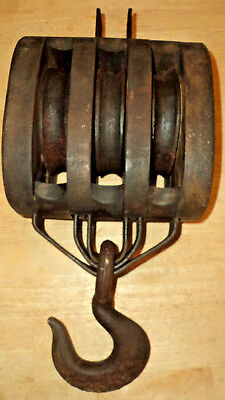 Antique Wood Block BARN Pulley with 3 Metal Wheels