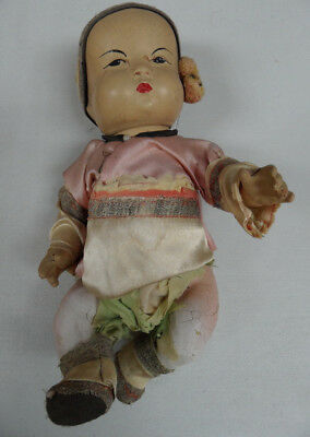 """VTG Antique 1930's Composition Asian Chinese Doll Original Silk Outfit 10"""""""