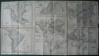 1840 - DUFOUR - 7 maps WORLD North and South AMERICA OCEANIA ASIA EUROPE AFRICA