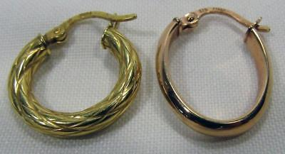 9ct 9K Gold Yellow & Rose Earrings 2 Single Different .97 gm