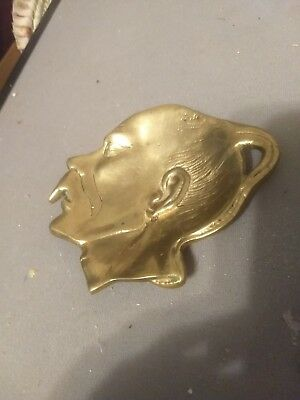 Antique Vintage Solid Brass  Asian Face Pin Trinket Dish Footed