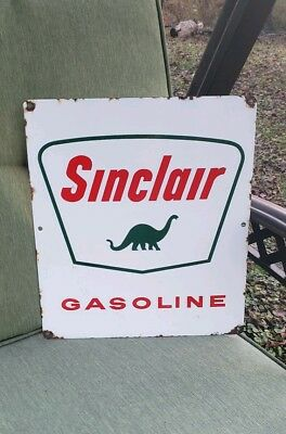 DINO SINCLAIR GASOLINE porcelain sign gas pump plate vintage opaline H-C oil