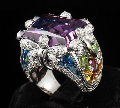 LARGE NATURAL 20.95ctw AMETHYST TOPAZ & DIAMOND 18K WHITE GOLD STATEMENT RING