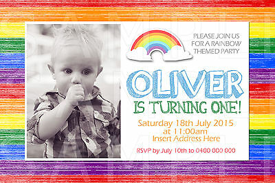 PERSONALISED BOYS GIRLS Unisex Photo Rainbow Birthday Party Invite Invitation