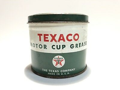Vintage Rare Texaco Motor Oil Cup Grease 1 Pound Green Oil Can