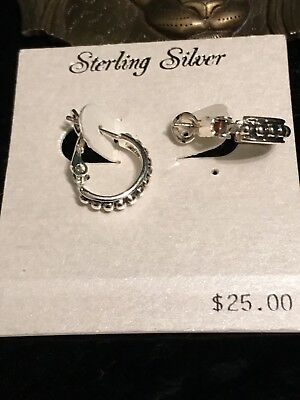 Womens 925 Sterling Silver Elegant Round Shaped Pierced Hoop Earrings