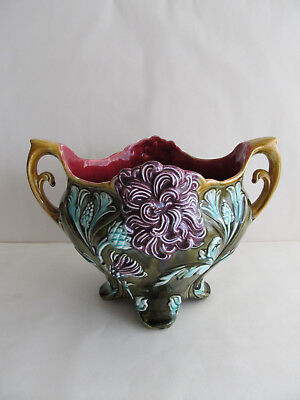 Antique French Jardiniere Planter by FRIE ONNAING Lyonnais Chrysanthemum Pottery