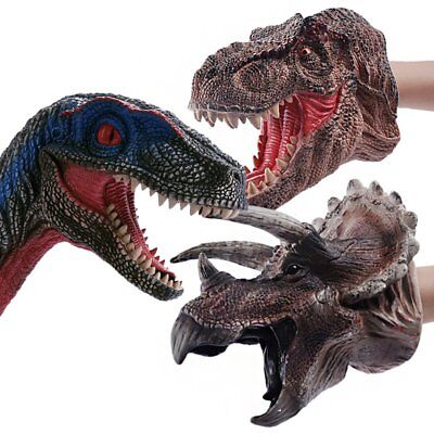 Simulated Rubber Soft Dinosaur Hand Puppet Dino Raptor Head Fun Toy Kids Gift IW