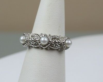 Fine Jewelry Fine Rings Judith Ripka Sterling Silver 3 Stone Genuine Pearl Band Stacking Ring Size 6.25