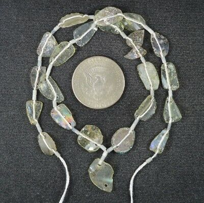 Ancient Roman Glass Beads 1 Medium Strand Aqua And Green 100 -200 Bc 988