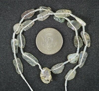 Ancient Roman Glass Beads 1 Medium Strand Aqua And Green 100 -200 Bc 989