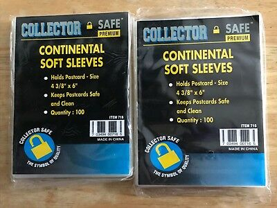 """200 Collector Safe Premium Postcard Soft Sleeves 4 3/8"""" x 6"""" *SHIPS FREE*"""