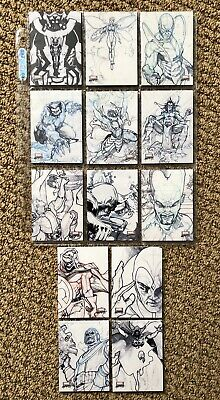 Marvel Masterpieces 2018 Preliminary Art Card Lot - 8 Cards Including Emma Frost