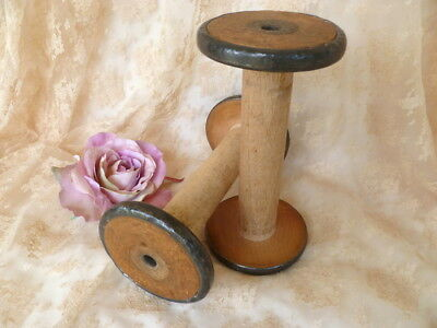 Pair~Vintage~French~Country~Cottage~Wooden~Cotton~Reel~Spools